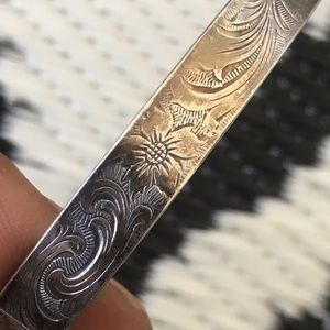 Antique Victorian engraved sterling silver bangle
